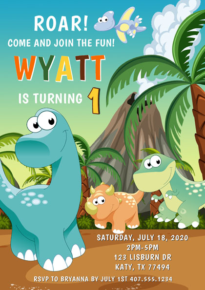 Dinosaur 1st Birthday Party Invitations