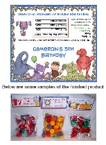 Dinosaur Birthday Party Bag Toppers w/Recloseable Bags Personalized