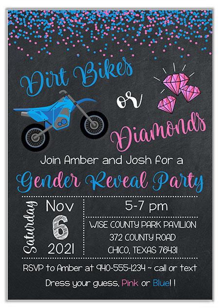 Dirt Bikes or Diamonds Gender Reveal Invitations