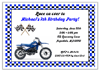 Dirt Bike Birthday Party Invitations Blue