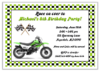Dirt Bike Birthday Party Invitations Green
