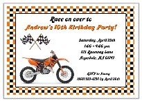 Dirt Bike Birthday Party Invitations Orange