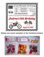 Dirt Bike Birthday Party Bag Toppers Favors w/Recloseable Bags