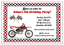 Dirt Bike Birthday Party Invitations Red