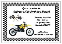 Dirt Bike Birthday Party Invitations Yellow