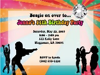 Disco Dance Groovy Retro Kids Birthday Party Invitations