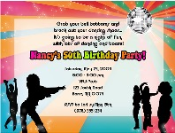 Disco Dance Retro Birthday Party Invitations