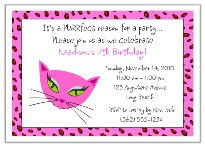 Diva Kitty Cat Birthday Party Invitations