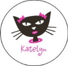 Diva Kitty Cat Round Envelope Seals Labels