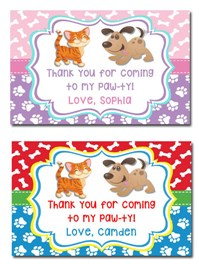 Dog and Cat Birthday Party Gift Tags