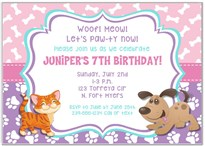 Dog and Cat Birthday Party Invitations