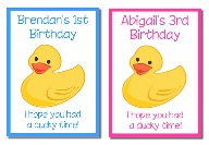 Rubber Ducky Birthday Crayon Box Labels Favors