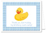 Rubber Ducky Birthday Party Thank You Note Cards  Boy