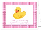 Rubber Ducky Birthday Party Thank You Note Cards  Girl