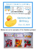 Rubber Ducky Birthday Boy Party Bag Toppers Favors w/Recloseable Bags