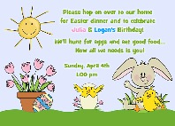 Easter Bunny Birthday Party Invitations