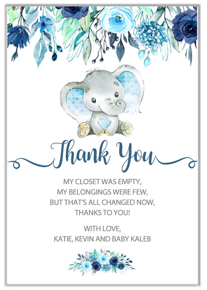 Elephant Boy Baby Shower Thank You Cards