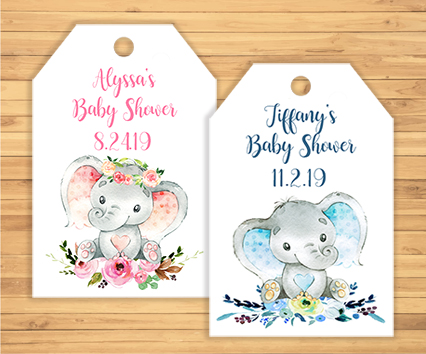 Elephant Baby Shower Gift Tags