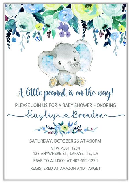 Elephant Boy Baby Shower Invitations