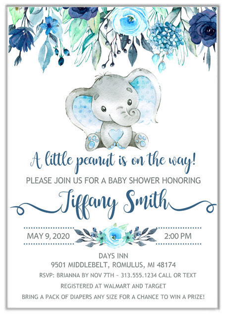 Elephant Boy Baby Shower Invitations