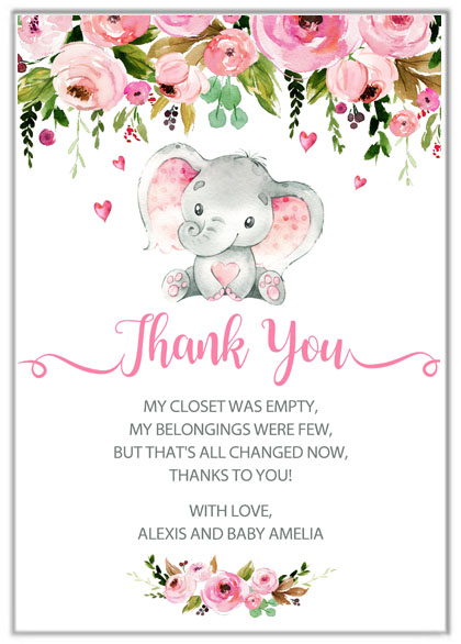 Elephant Girl Baby Shower Thank You Cards