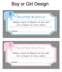 Elephant Baby Shower Diaper Raffle Tickets