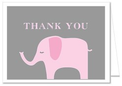 Elephant Girl Baby Shower Thank You Note Cards
