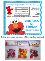 Elmo Party Bag Toppers Favors w/Recloseable Bags