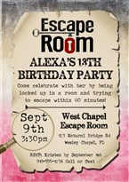 Escape Room Birthday Party Invitations