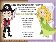 Fairy and Pirate Birthday Party Invitations
