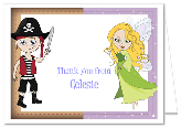 Fairy and Pirate Thank You Note Cards Personalized