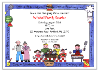 Family Reunion BBQ Barbeque Cookout Party Invitations