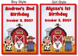 Farm Animals Birthday Crayon Box Labels Favors Boy or Girl