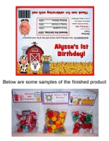 Farm Animals Birthday Party Bag Toppers Favors w/Recloseable Bags