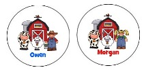 Farm Animals Round Envelope Seals Labels Boy or Girl
