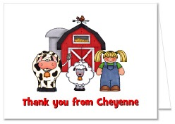 Farm Animals Birthday Party Thank You Note Cards Boy or Girl