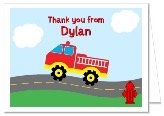 Fire Truck Birthday Party Thank You Note Cards