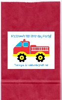 Fire Truck Birthday Party Goodie Loot Bag Labels Favors