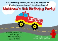 Fire Truck Firefighter Birthday Party Invitations