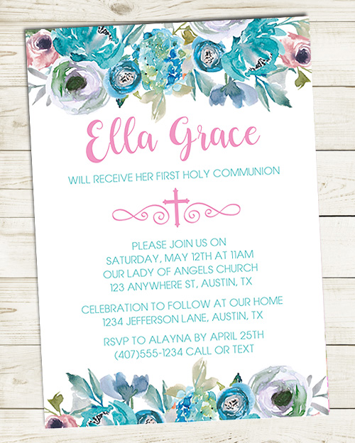 First Holy Communion Floral Invitations Teal
