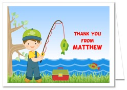 Fishing Birthday Thank You Note Cards