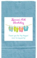 Flip Flops Pool Party Birthday Goodie Loot Bag Labels