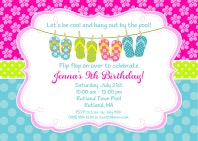 Flip Flops Pool Party Birthday Invitations