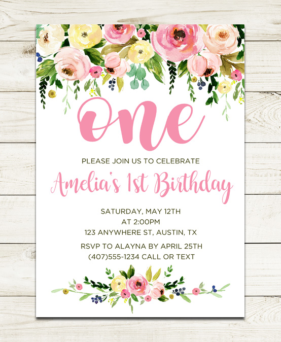Watercolor Flowers Floral 1st Birthday Party Invitations