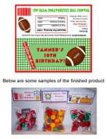 Football Birthday Party Bag Toppers Favors w/Recloseable Bags