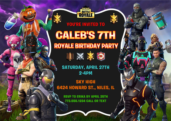 Fortnite Birthday Party Invitations