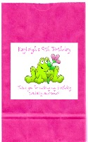 Frog Girl Birthday Party Goodie Loot Bag Labels