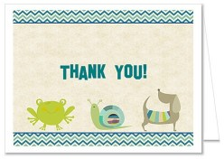 Frogs Snails Puppy Dog Tails Boy Baby Shower Thank You Cards