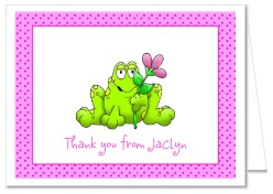 Frog Girl Thank You Note Cards Personalized