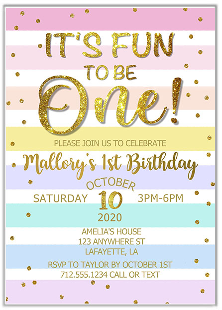 It's fun to be one girls 1st birthday party invitations